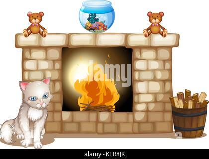 Abbildung: Eine traurige Katze in der Nähe der Feuerstelle auf weißem Hintergrund - Stockfoto