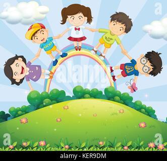 Abbildung: Kinder halten sich an den Händen über den Regenbogen - Stockfoto