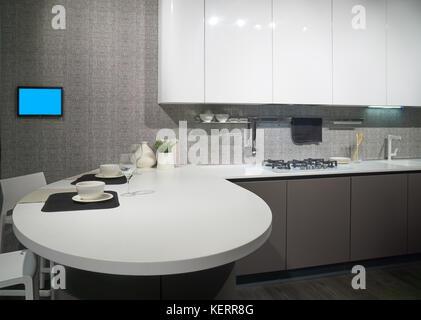 moderne k che interieur skandinavisches design 3d rendering konzept stockfoto bild 169668561. Black Bedroom Furniture Sets. Home Design Ideas