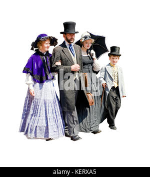 Zeichen in viktorianischen Kleid bei Dickens Fesival Rochester Kent - Stockfoto