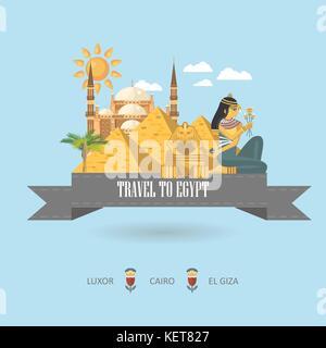 Ägypten reisen Vektor. Ägyptischen traditionelle Symbole im flachen Design. holiday Banner. Urlaub und Sommer Poster. - Stockfoto