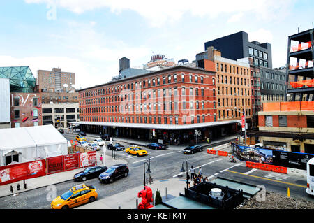 Washington Street und West 13. Straße Stockfoto