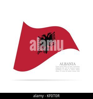 Albanien Flagge schwenkten Vektor icon - Stockfoto