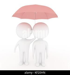 Kleine weiße Menschen Liebhaber halten rosa Regenschirm auf isolierten weißen Hintergrund im 3D-Rendering Stockfoto