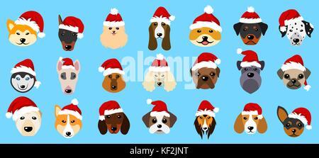 Verschiedene Rassen von Hunden in Hüte von Santa Claus, Symbole neues Jahr 2018 - Stockfoto