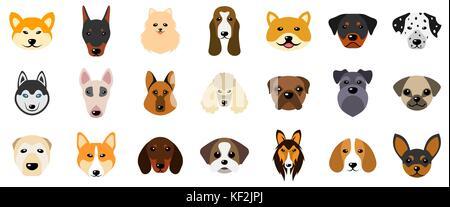 Druckköpfe von Hunden, Sammlung verschiedener Rassen der Eckzähne, auf weißem Hintergrund - Stockfoto