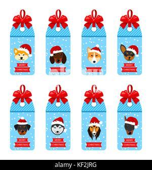 Set Weihnachten Etiketten mit Kopf Hunde in Santa Hüte - Stockfoto