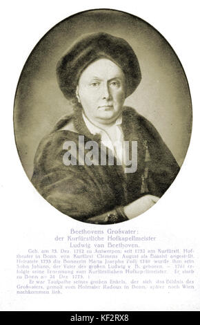 Ludwig van Beethovens Großvater (1712-1773) - Er war Kapellmeister des Kurfürsten. Deutschen Komponisten (1770-1827). - Stockfoto