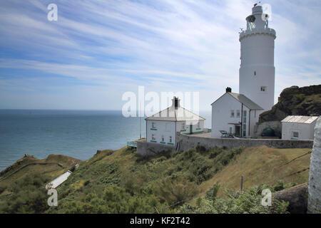 Start Point Lighthouse auf der South Devon Coast - Stockfoto