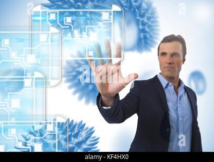 Digital composite von Minimal-Schnittstelle und Geschäftsmann berühren Luft mit offener Hand vor der Wissenschaft - Stockfoto