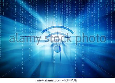 Konzeptionelle wireless Symbol auf türkisblaue verschwommen Rechteck ...
