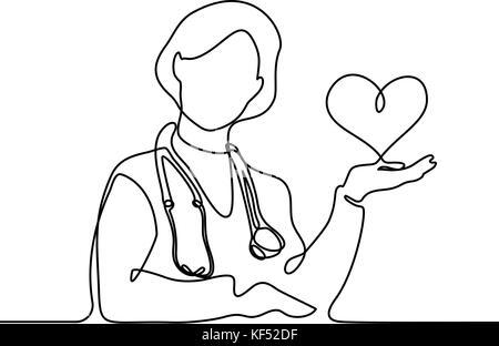 Doktor mit Stethoskop Herzen halten. Kontinuierliche Strichzeichnung. Vector Illustration auf weißem Hintergrund - Stockfoto