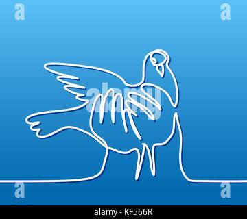 Kontinuierliche eine Strichzeichnung. Taube in den Händen Logo. zwei Tauben Logo. Weiß auf Blau Farbverlauf Hintergrund. - Stockfoto