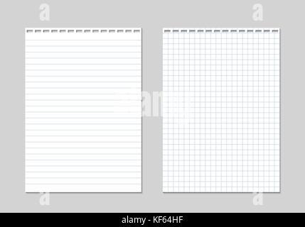 Realistische Vorlage Blatt Papier mit quadratischen Raster. Office ...