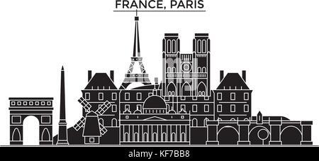 Frankreich, Ile de France, Paris Architektur vektor Skyline der Stadt, Reisen Stadtbild mit Sehenswürdigkeiten, - Stockfoto