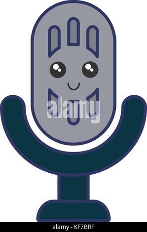 Mikrofon-Symbol. Kawaii und Technologie. Vektorgrafik Vektor ...