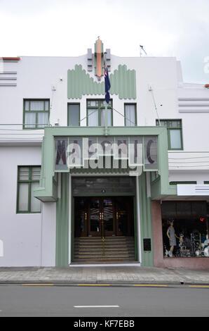 Das Masonic Hotel, ein Gebäude im Art-Deco-Stil in Napier, Neuseeland. Die Stadt wurde im Art Deco Stil nach dem - Stockfoto