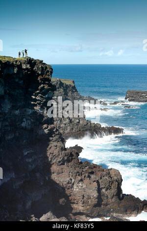 Easter Island, Chile, Isla de Pascua, Rapa Nui, die schöne Landschaft beim Wandern die Klippen kakenga und den beiden - Stockfoto