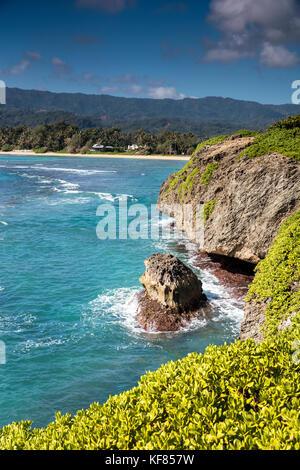 Hawaii, Oahu, Ansichten einer Lava Küstenlinie von Laie aus gesehen - Stockfoto
