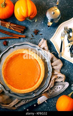 Pumpkin Pie, Ansicht von oben - Stockfoto