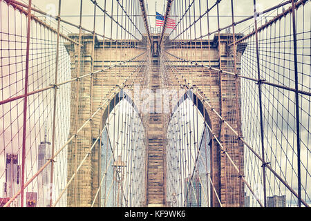 Vintage gefilterten Bild der Brooklyn Bridge, New York City, USA. Stockfoto