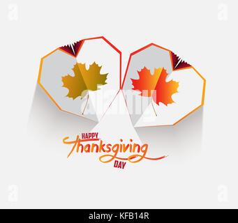 Happy Thanksgiving Tag. Creative Paper Herzen. happy Herbst Blätter Hintergrund - Stockfoto