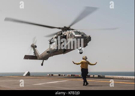 Seahawk Hubschrauber Landung - Stockfoto