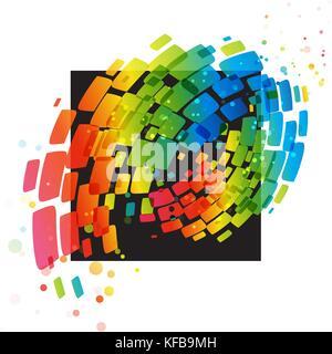 Farbenfrohe abstrakte Ornament auf ein schwarzes Quadrat - Stockfoto