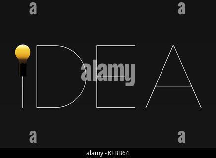Idee Glühbirne Text auf dunklem Hintergrund, unterschiedlich sein. - Stockfoto