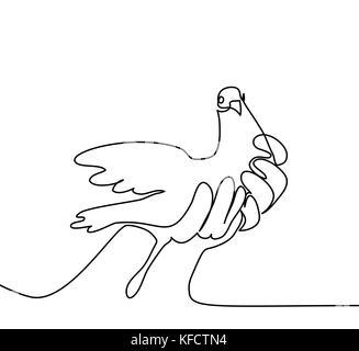 Kontinuierliche eine Linie zeichnen. Taube in den Händen Logo. Schwarze und weiße Vector Illustration. Konzept für - Stockfoto