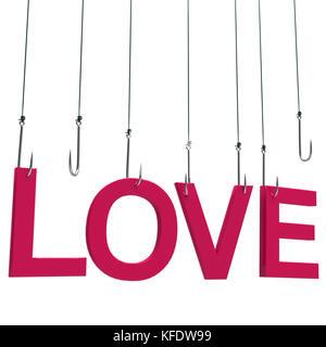 Text 'Liebe' an das Angeln Haken. auf weißem Hintergrund. - Stockfoto