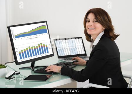 Geschäftsfrau, die Überprüfung der finanziellen Bericht über Computer mit digitalem Tablet-PC und Laptop auf dem - Stockfoto