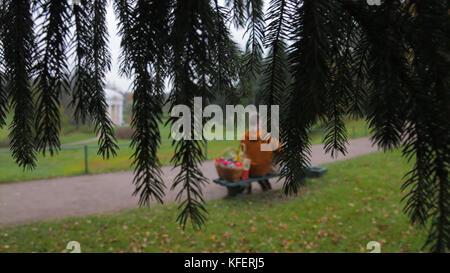 Liebe Paar auf der Werkbank. Paar sitzt im Park Blick von den Ästen eines Baumes. junges Paar sitzt auf der Bank - Stockfoto