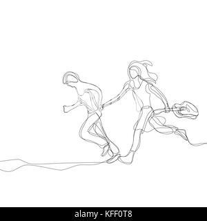 Gerne springen Paar mit Gitarre. Durchgehende Linie zeichnen. Vector Illustration auf weißem Hintergrund - Stockfoto