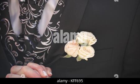 knopfloch am blauen anzug mit wei em hemd anzug hochzeit br utigam stockfoto bild 75794552. Black Bedroom Furniture Sets. Home Design Ideas