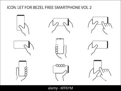 Vektor Icon Set von Hand, die Blende kostenlose moderne smart phone in verschiedenen Positionen. Die rahmenlosen - Stockfoto