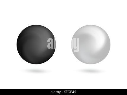 Schwarze und weiße dreidimensionalen Kugel design Element. Vector Illustration. - Stockfoto