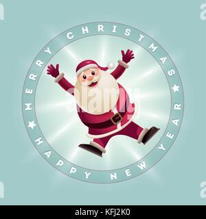 Weihnachtsmann Springen. Vector Illustration und Weihnachtskarte. Elemente sind separat in Vektordatei geschichtet. - Stockfoto