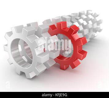 Zahnräder, computer generated Image. 3D-Render. - Stockfoto