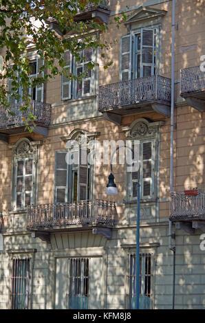 Schatten an der Wand von Gebäude, von Platanen Platanus x acerifolia erstellt, - Stockfoto
