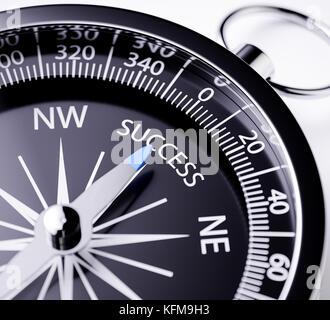 Kompass mit der Nadel nach das Wort Erfolg. 3D Rendering Illustration mit Tiefenschärfe blur Effekt. Konzept der - Stockfoto