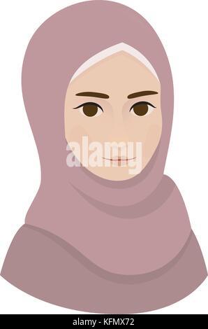 Portrait von muslimischen schöne Mädchen Frau im Hijab, Vector Illustration - Stockfoto