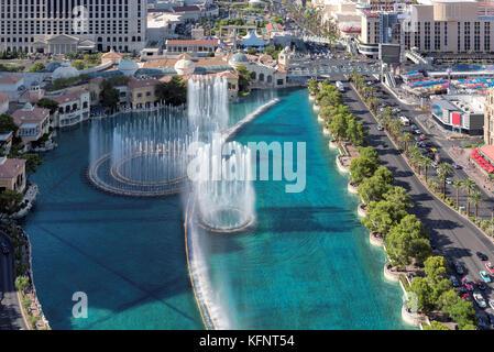 Luftaufnahme der schöne Brunnen Show in Las Vegas, Nevada. - Stockfoto
