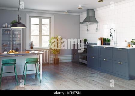 Moderne Küche Interieur. Skandinavisches Design. 3D Rendering Konzept    Stockfoto