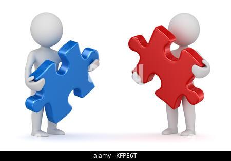 Zwei Mann mit roten und blauen Puzzleteil. 3D-Render und Computer generierten Bildes. - Stockfoto