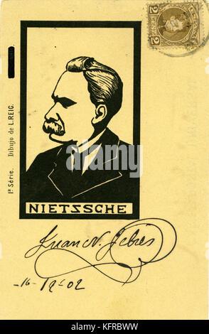 Friedrich Nietzsche - Portrait. Zeichnung von L. Reig. Der deutsche Philosoph und Verfasser: 15. Oktober 1844 - - Stockfoto