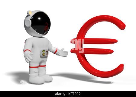 Astronaut in Rot euro Zeichen suchen, niedliche Zeichentrickfigur mit Währung Symbol auf weißem Hintergrund - Stockfoto