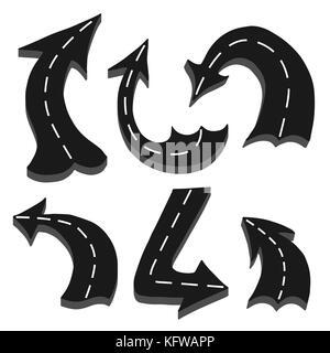 Satz von Straße in seine Form von einem Pfeil auf weißem Hintergrund - Stockfoto