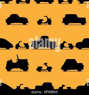Auto Symbol nahtlose Muster auf weißem Hintergrund. Vector Illustration. - Stockfoto