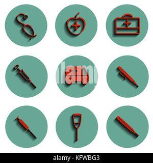 Vektor isoliert medizinische Symbole gesetzt. Vector Illustration. - Stockfoto